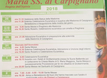 Programma Religioso 2018 Maria SS. di Carpignano